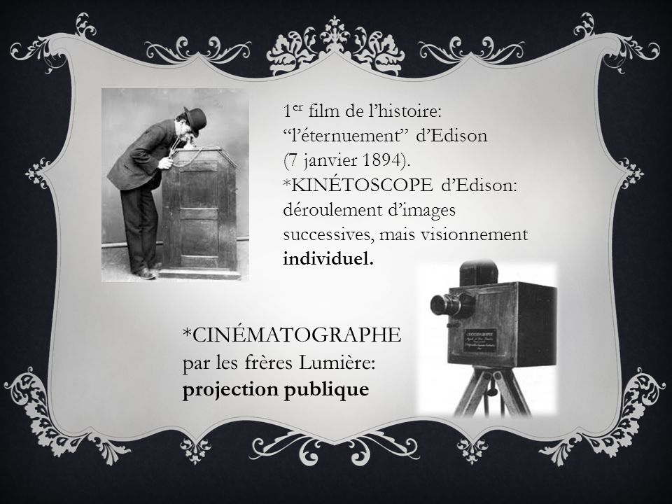 *CINÉMATOGRAPHE par les frères Lumière: projection publique