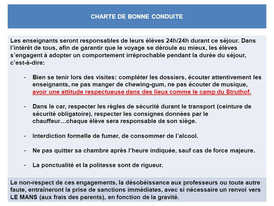 CHARTE DE BONNE CONDUITE