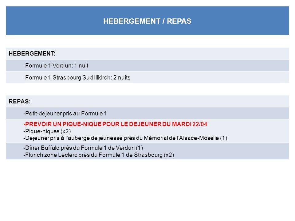 HEBERGEMENT / REPAS HEBERGEMENT: -Formule 1 Verdun: 1 nuit