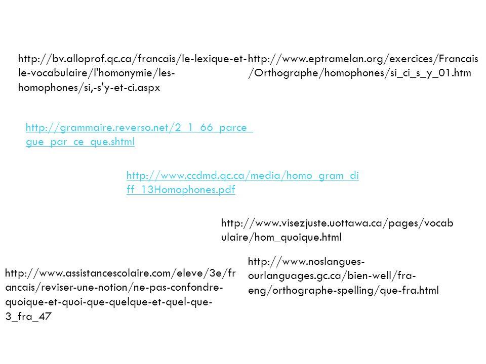http://bv.alloprof.qc.ca/francais/le-lexique-et-le-vocabulaire/l homonymie/les-homophones/si,-s y-et-ci.aspx