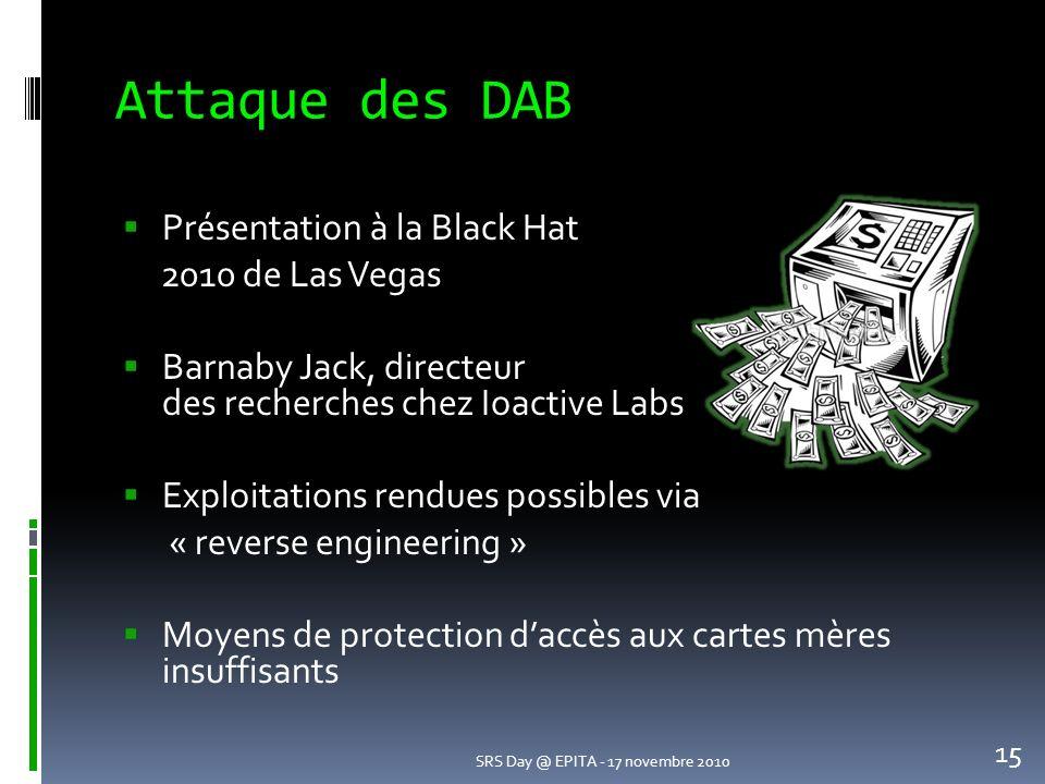 Attaque des DAB Présentation à la Black Hat 2010 de Las Vegas