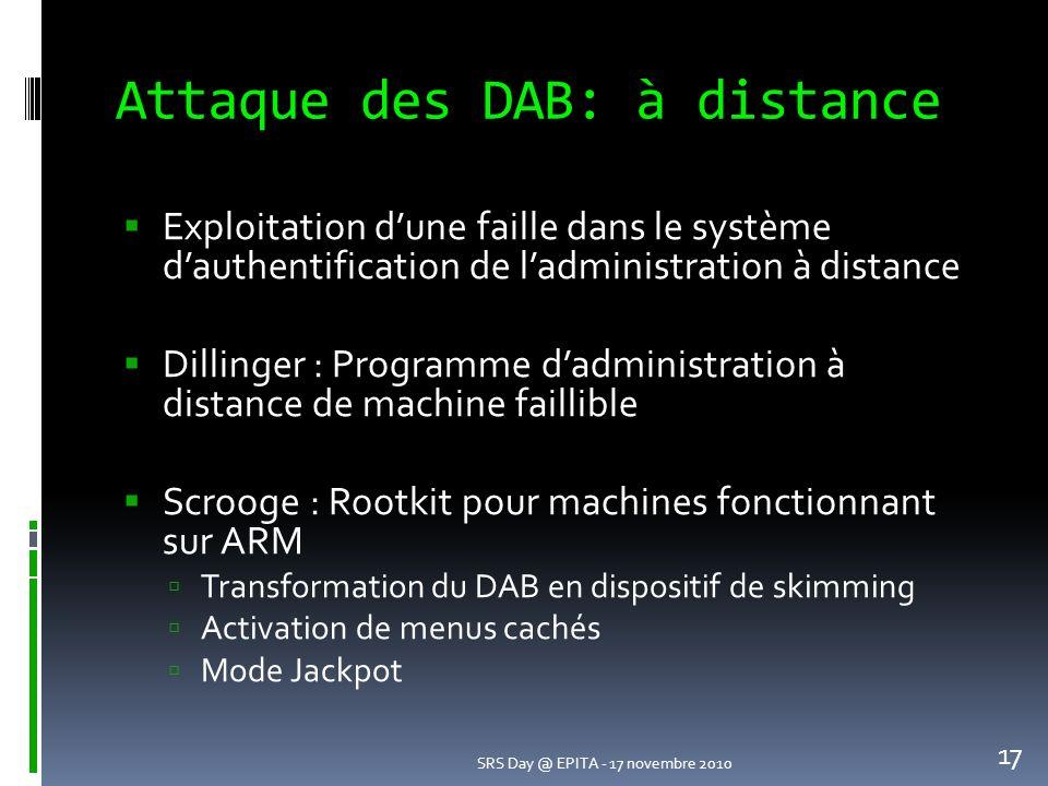 Attaque des DAB: à distance
