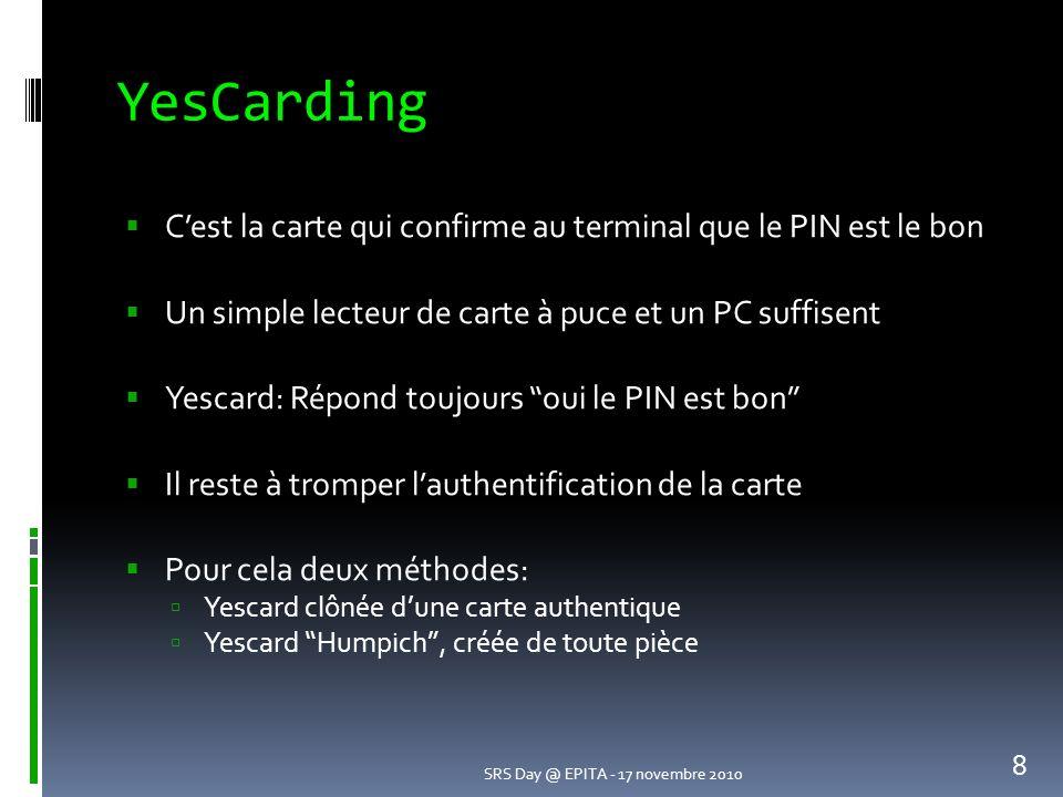 YesCarding C'est la carte qui confirme au terminal que le PIN est le bon. Un simple lecteur de carte à puce et un PC suffisent.
