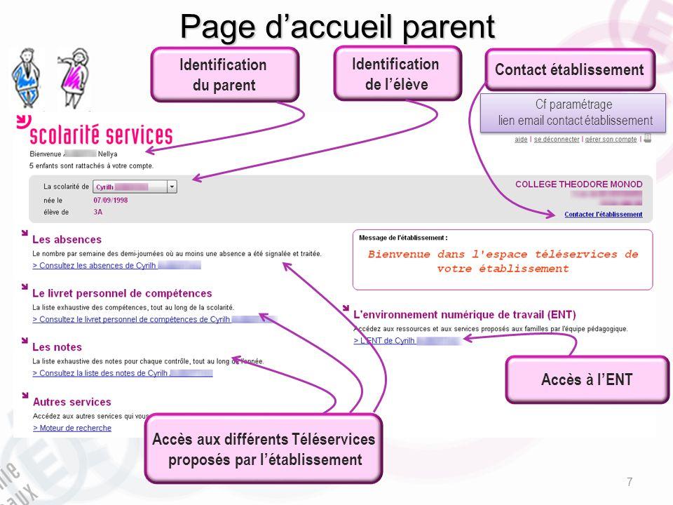 Page d'accueil parent Identification Identification