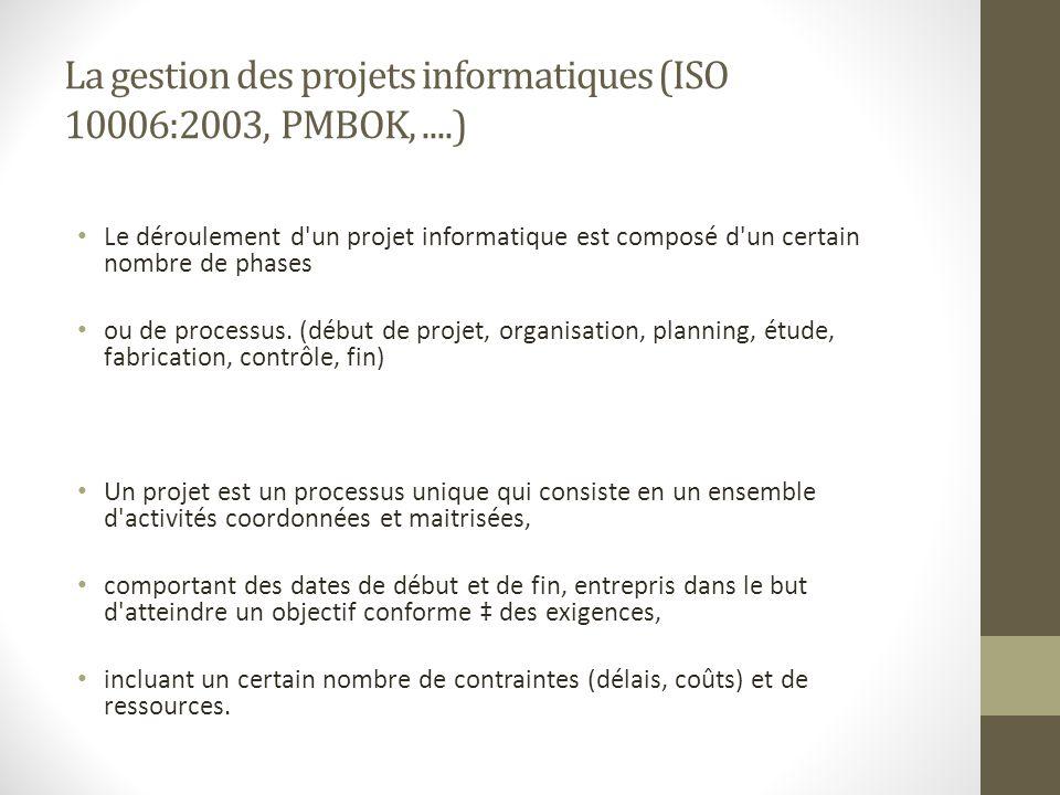 La gestion des projets informatiques (ISO 10006:2003, PMBOK, ....)