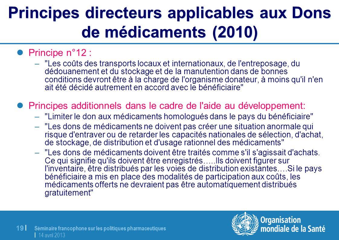Principes directeurs applicables aux Dons de médicaments (2010)