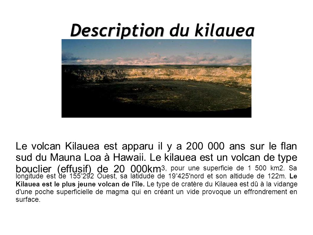 Description du kilauea