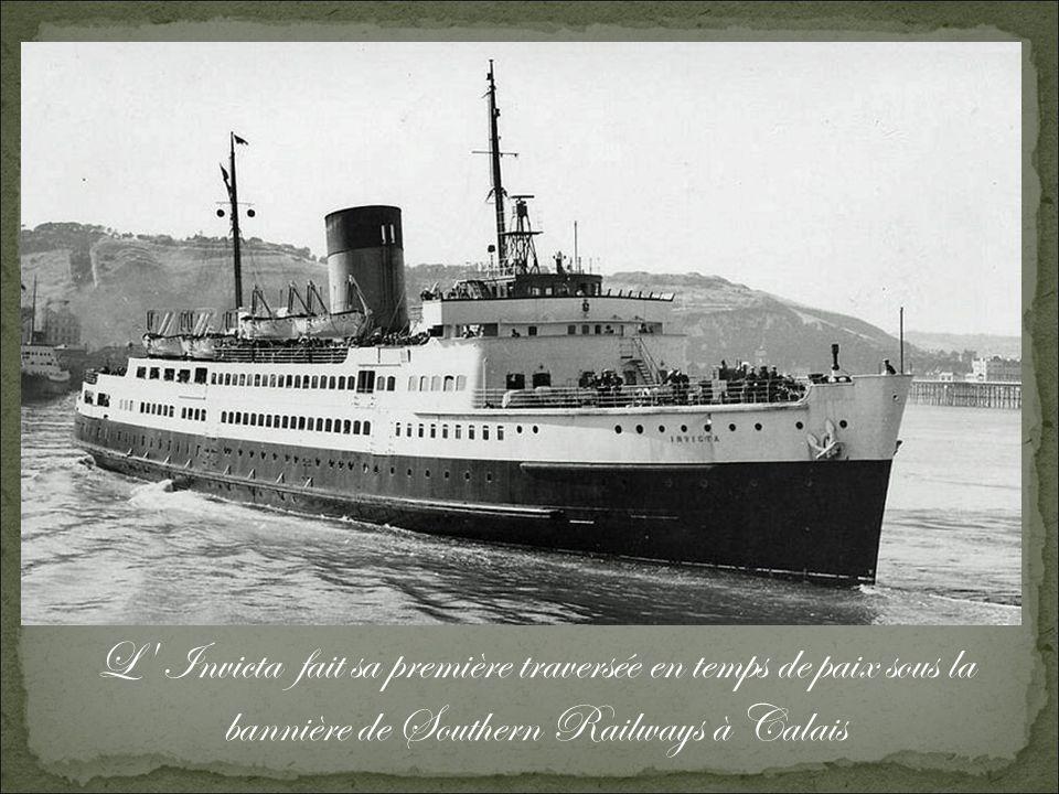 L Invicta fait sa première traversée en temps de paix sous la bannière de Southern Railways à Calais