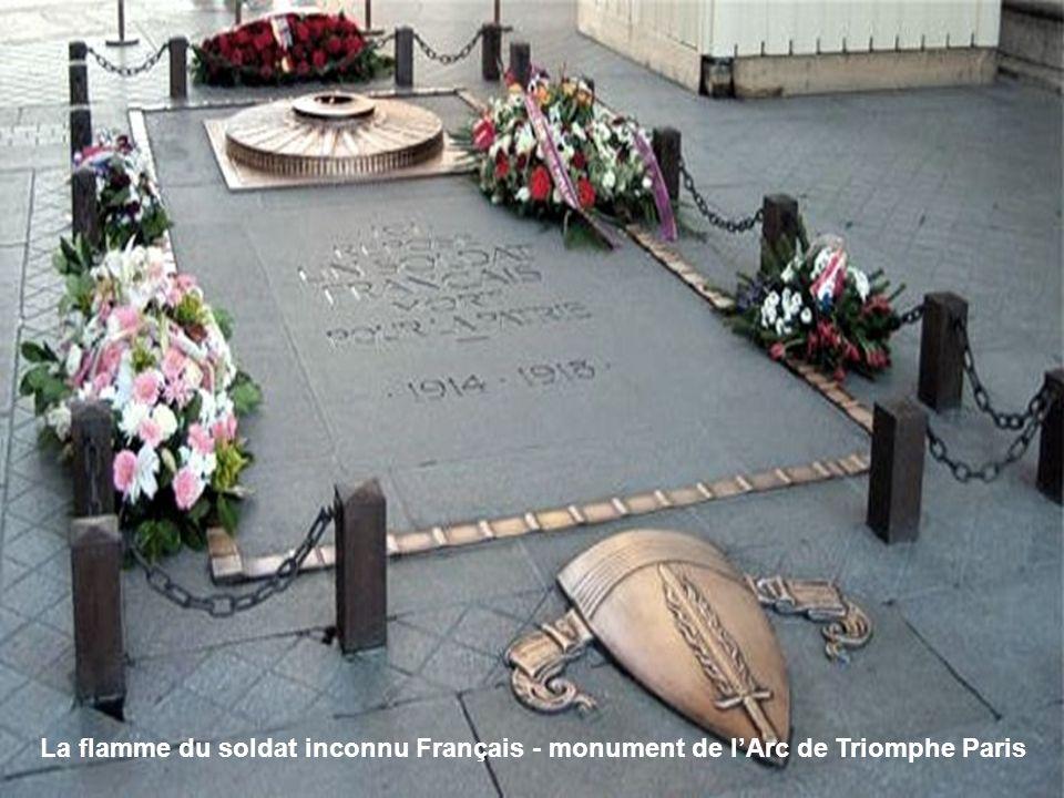 La flamme du soldat inconnu Français - monument de l'Arc de Triomphe Paris