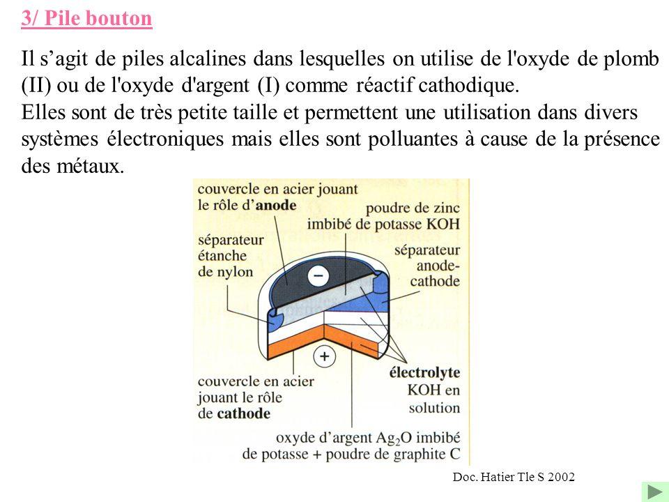 3/ Pile bouton Il s'agit de piles alcalines dans lesquelles on utilise de l oxyde de plomb (II) ou de l oxyde d argent (I) comme réactif cathodique.