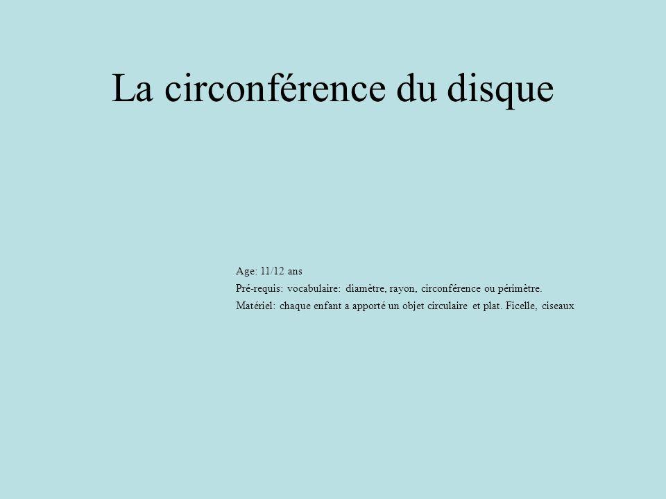 La circonférence du disque