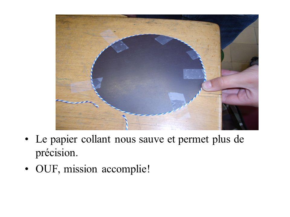 Le papier collant nous sauve et permet plus de précision.