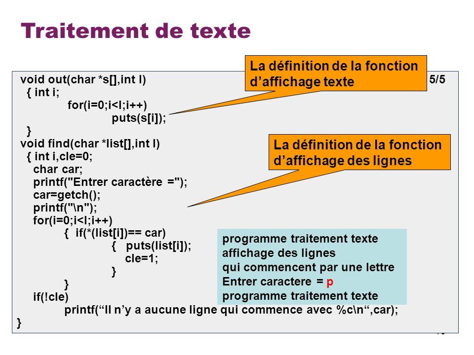 Traitement de texte La définition de la fonction d'affichage texte
