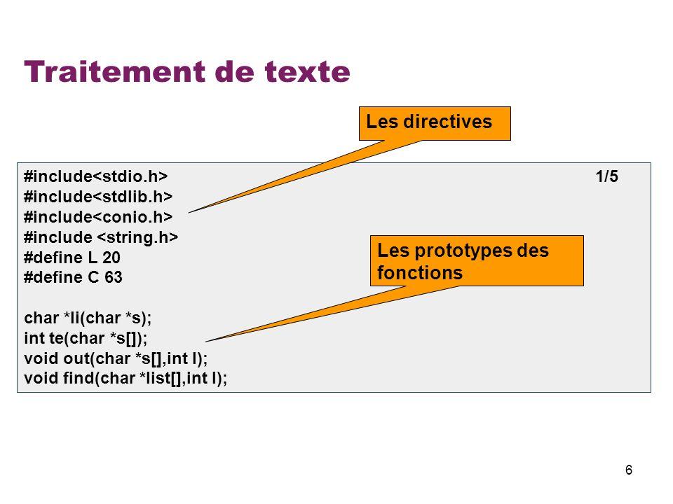 Traitement de texte Les directives Les prototypes des fonctions