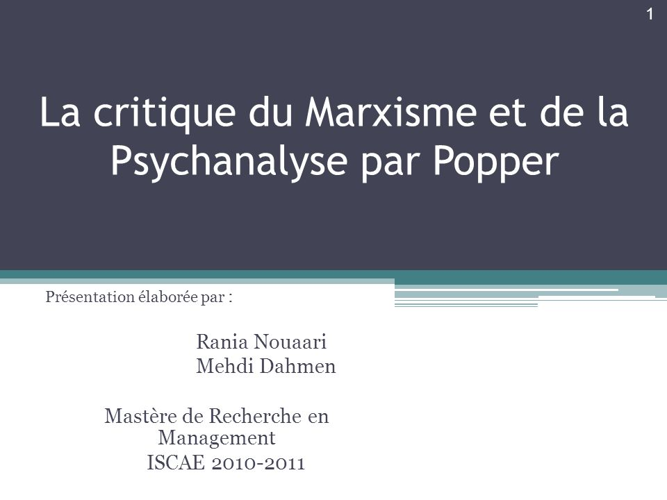 La critique du Marxisme et de la Psychanalyse par Popper