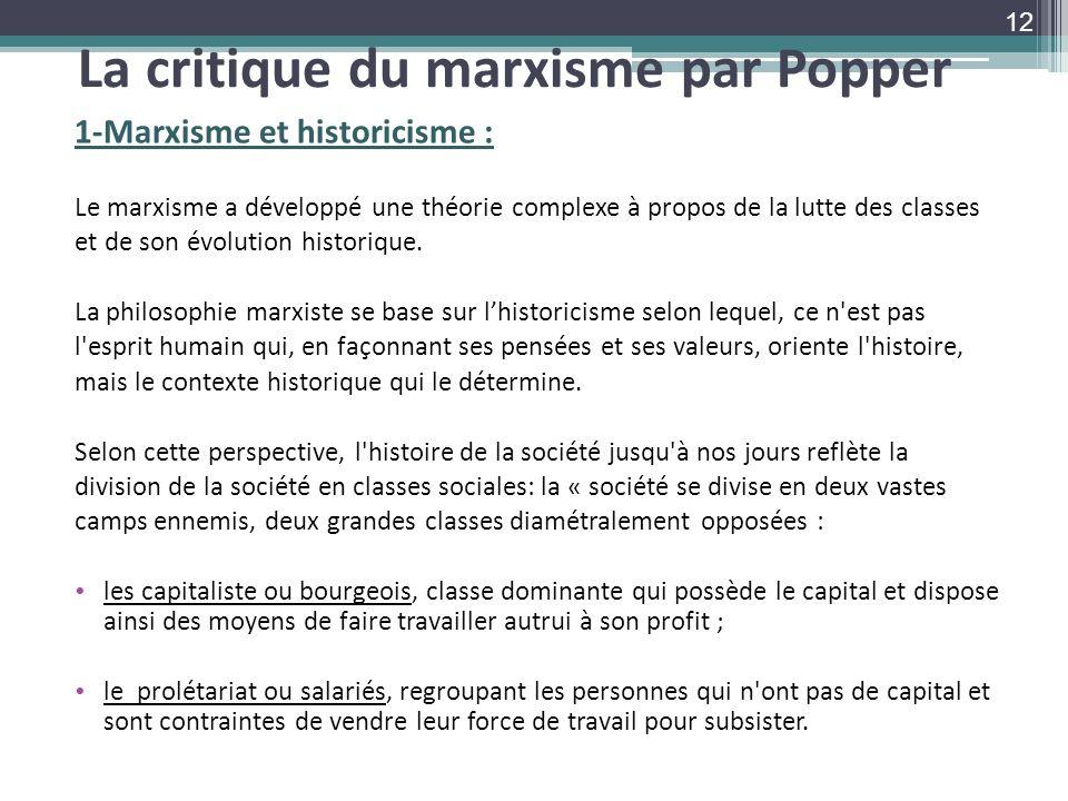 La critique du marxisme par Popper