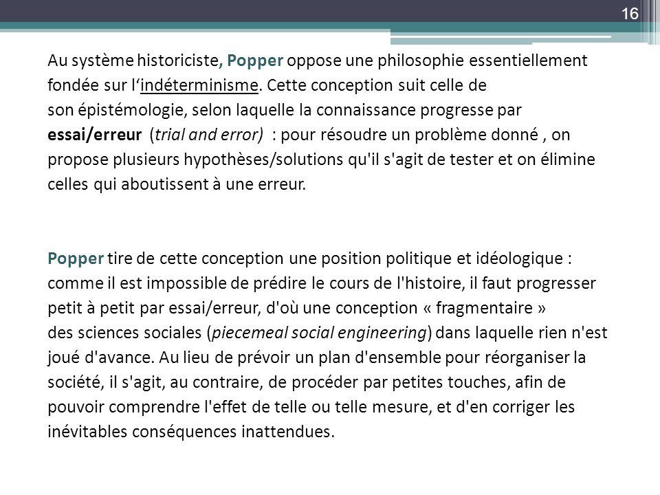Au système historiciste, Popper oppose une philosophie essentiellement fondée sur l'indéterminisme.