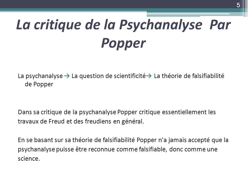 La critique de la Psychanalyse Par Popper