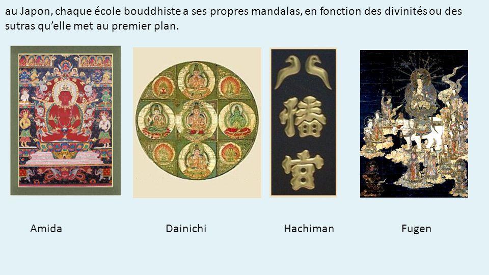 au Japon, chaque école bouddhiste a ses propres mandalas, en fonction des divinités ou des sutras qu'elle met au premier plan.