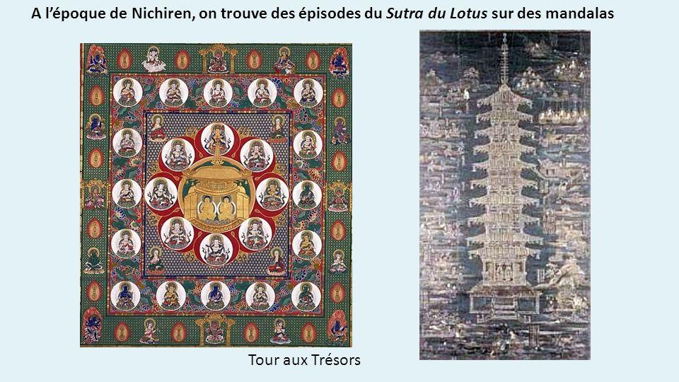A l'époque de Nichiren, on trouve des épisodes du Sutra du Lotus sur des mandalas