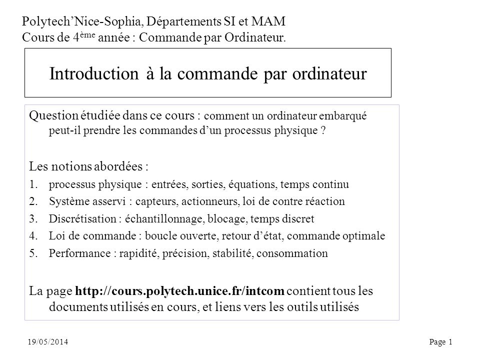 Introduction à la commande par ordinateur