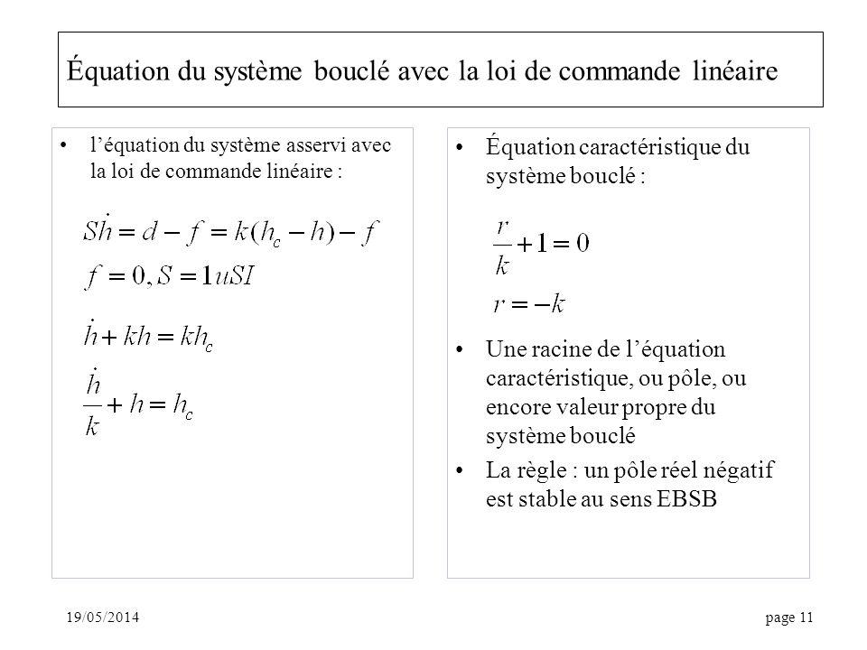 Équation du système bouclé avec la loi de commande linéaire