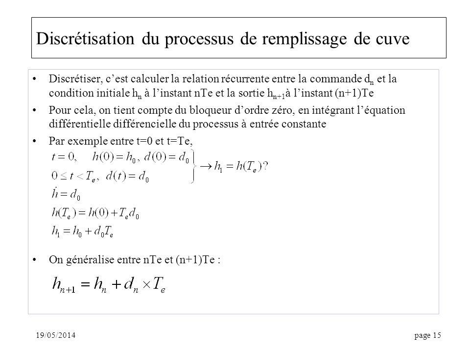 Discrétisation du processus de remplissage de cuve