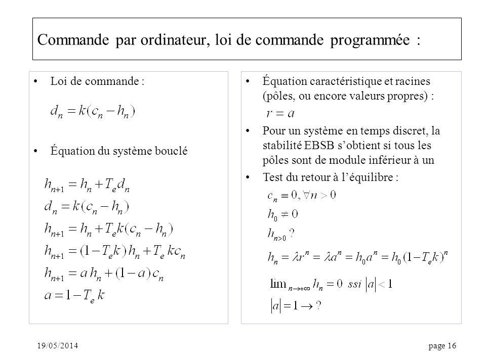 Commande par ordinateur, loi de commande programmée :