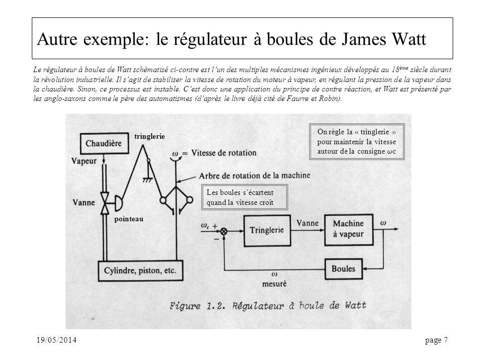 Autre exemple: le régulateur à boules de James Watt