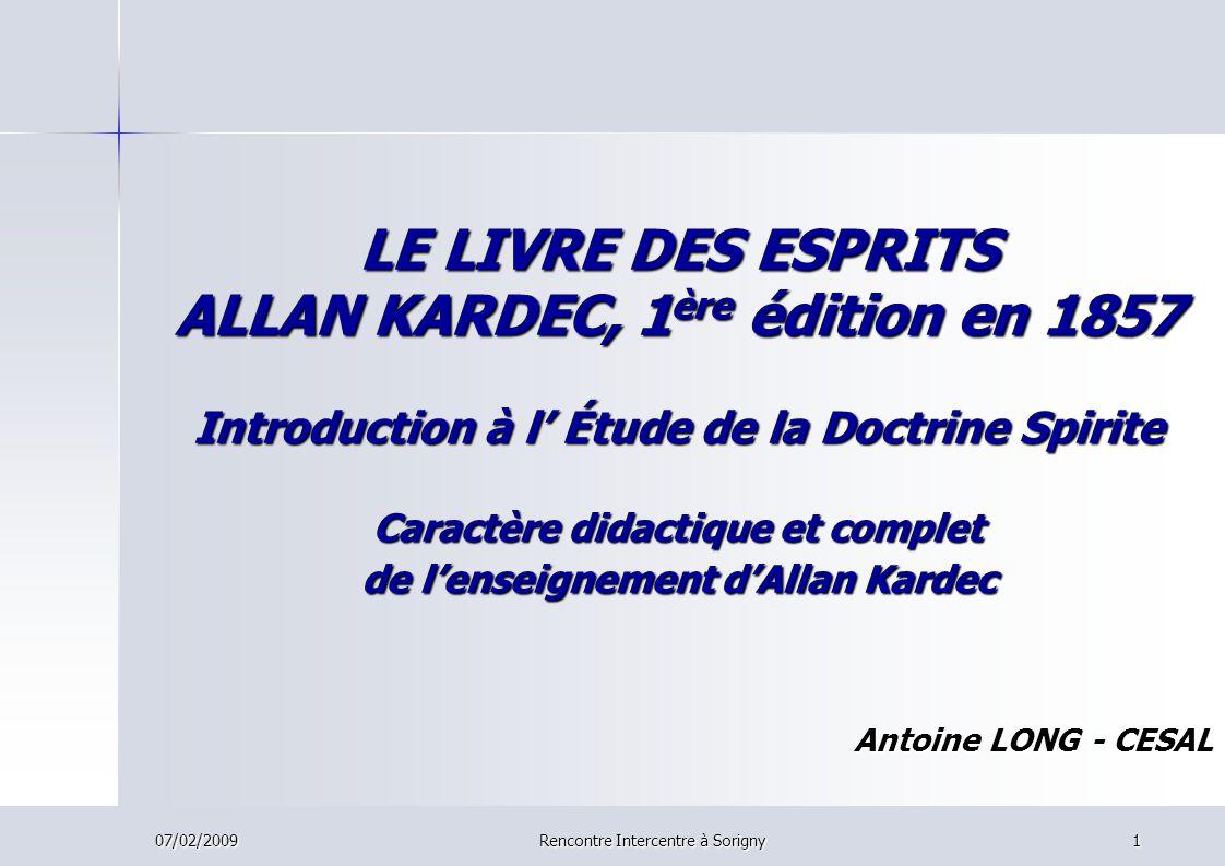 LE LIVRE DES ESPRITS ALLAN KARDEC, 1ère édition en 1857