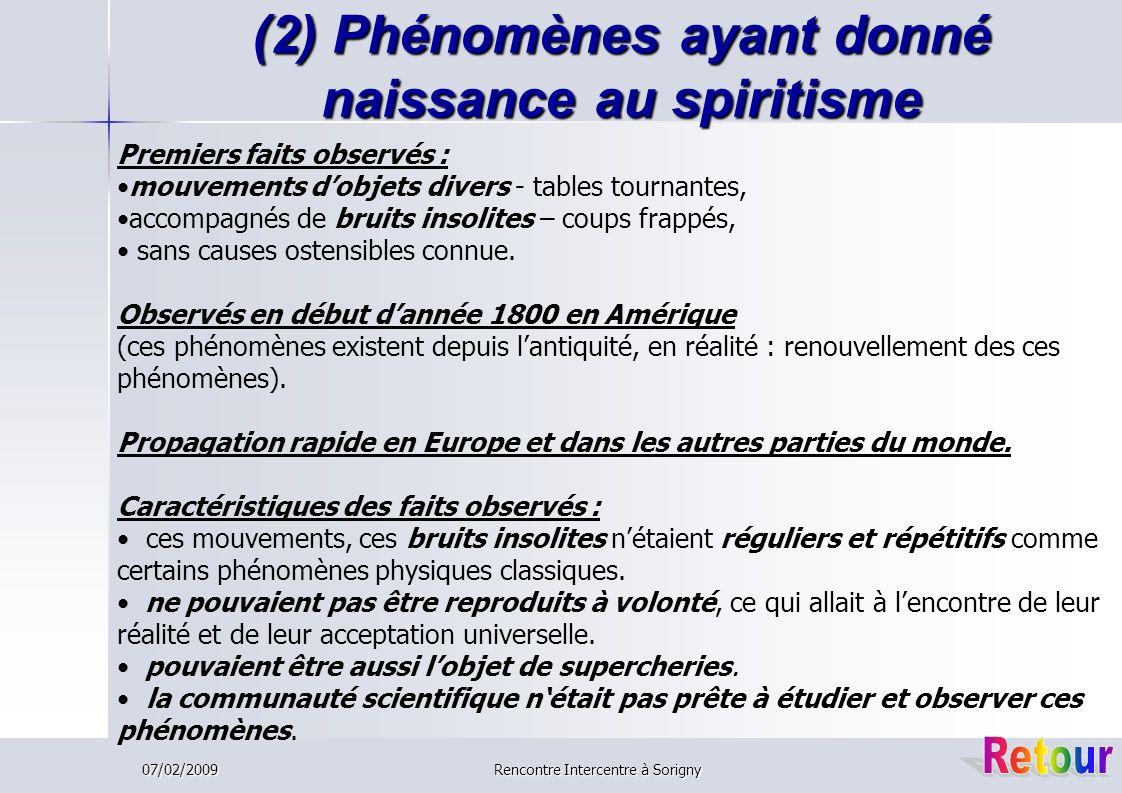 (2) Phénomènes ayant donné naissance au spiritisme