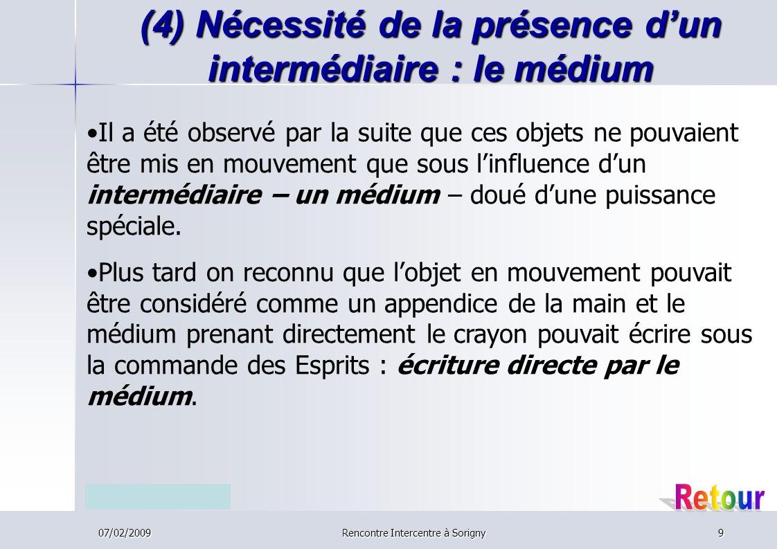 (4) Nécessité de la présence d'un intermédiaire : le médium