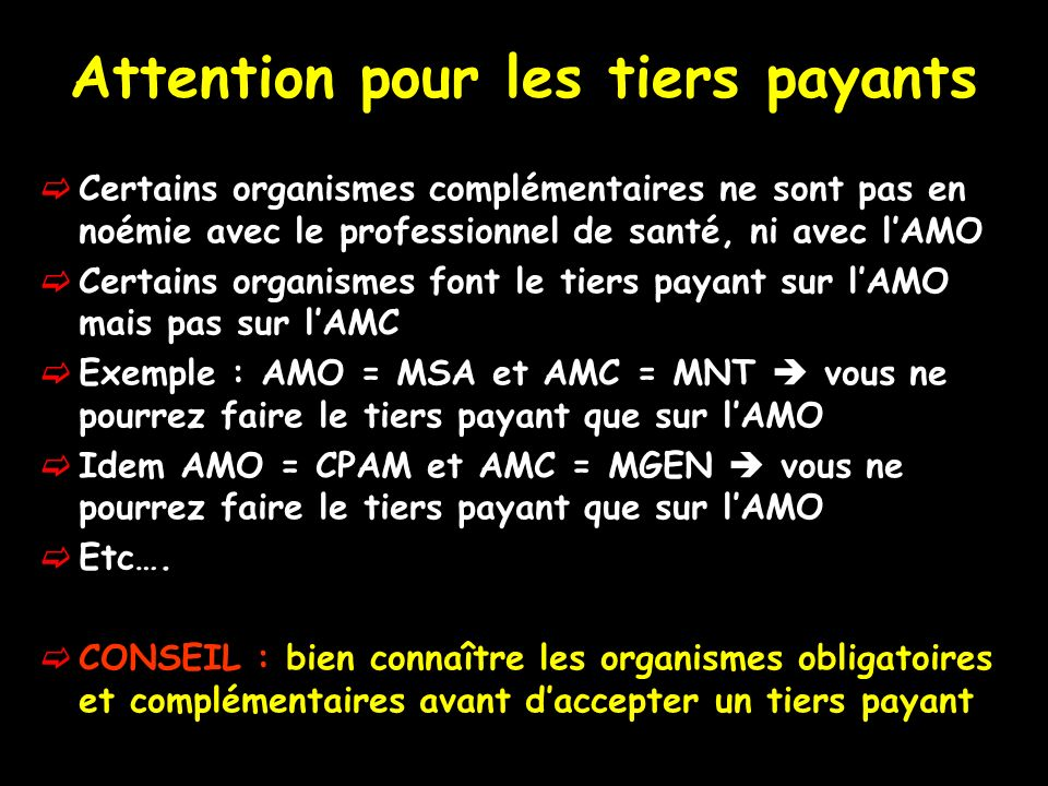 Attention pour les tiers payants