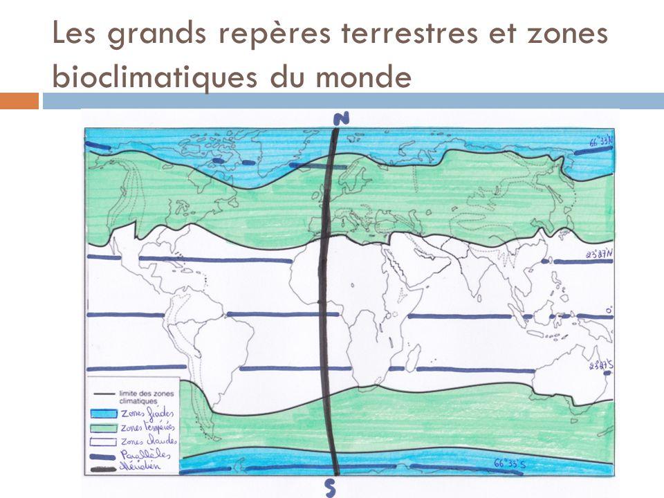 Les grands repères terrestres et zones bioclimatiques du monde