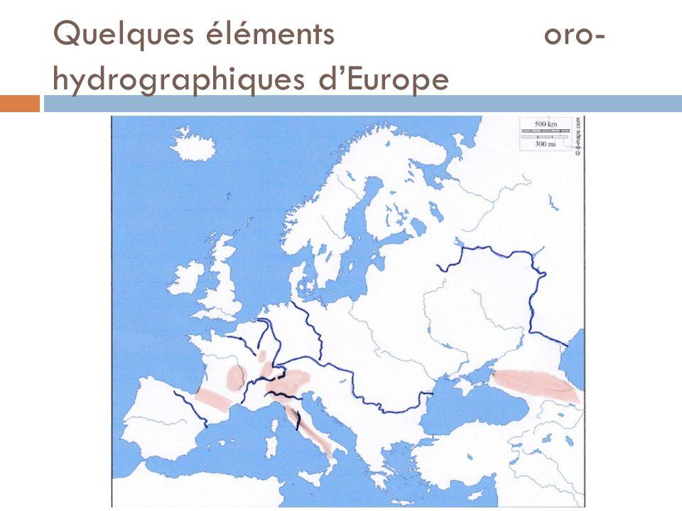 Quelques éléments oro-hydrographiques d'Europe