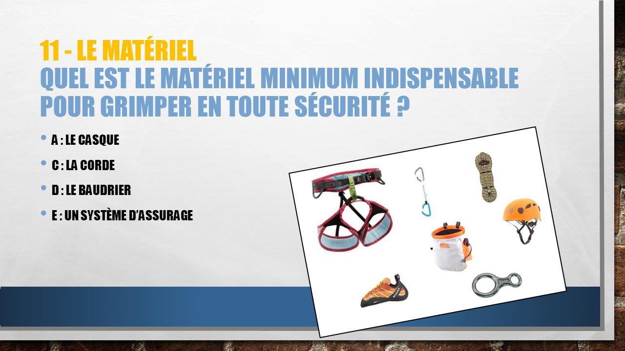 11 - Le matériel Quel est le matériel minimum indispensable pour grimper en toute sécurité