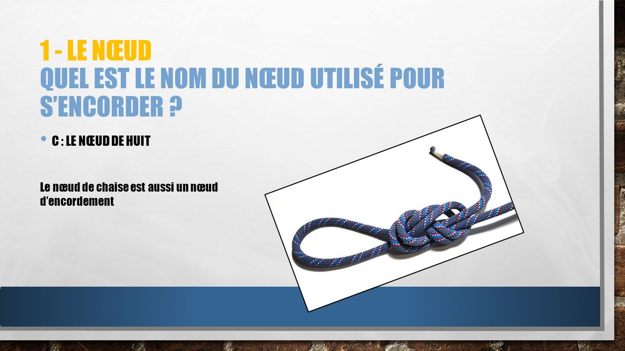 1 - Le nœud Quel est le nom du nœud utilisé pour s'encorder