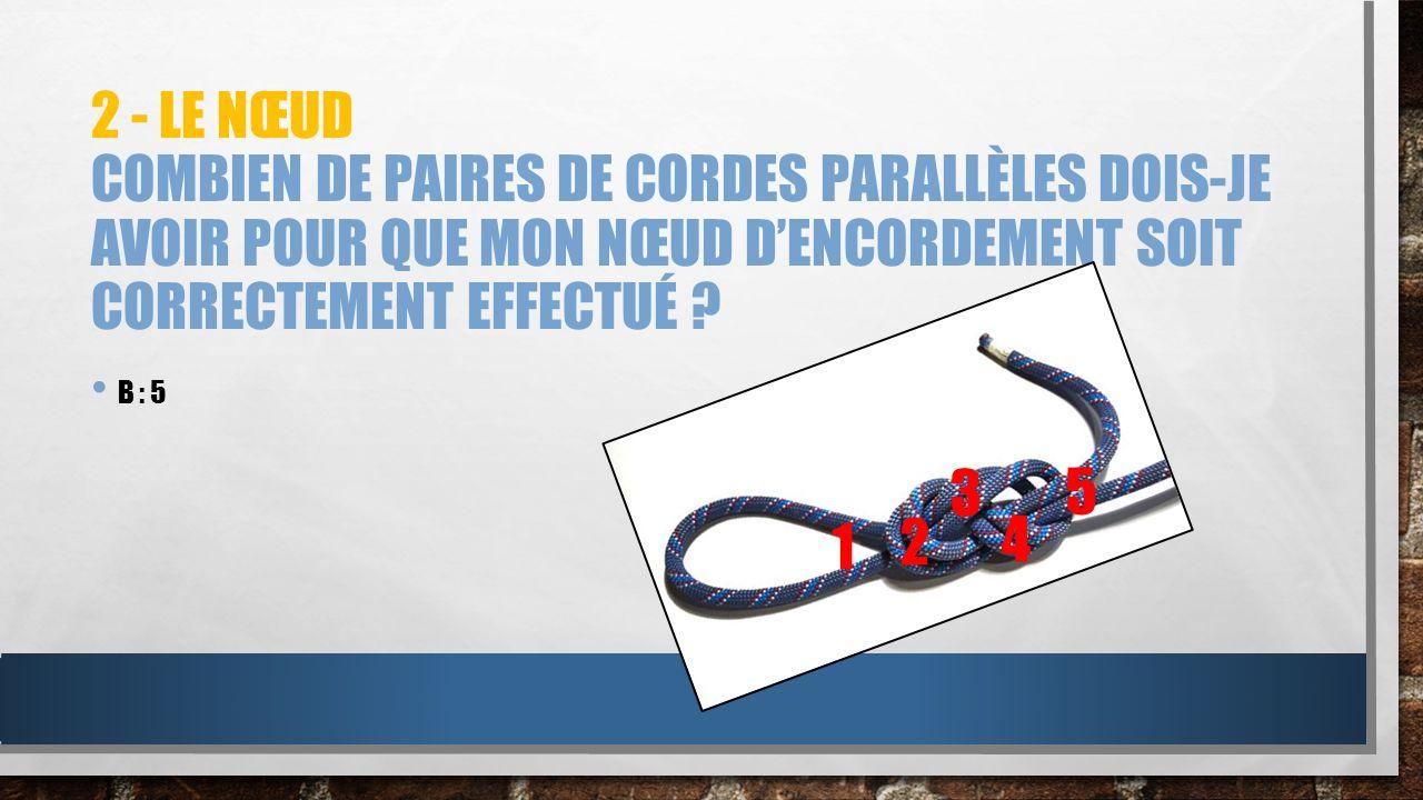 2 - Le nœud Combien de paires de cordes parallèles dois-je avoir pour que mon nœud d'encordement soit correctement effectué