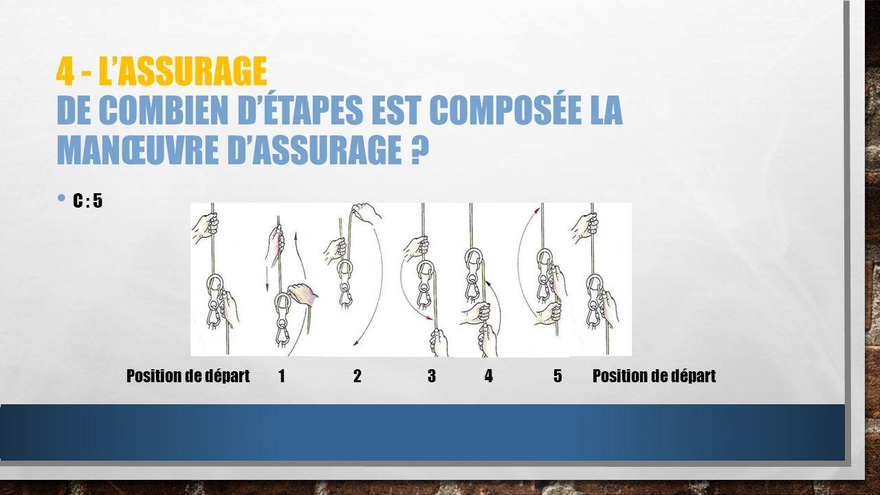 4 - L'assurage De combien d'étapes est composée la manœuvre d'assurage