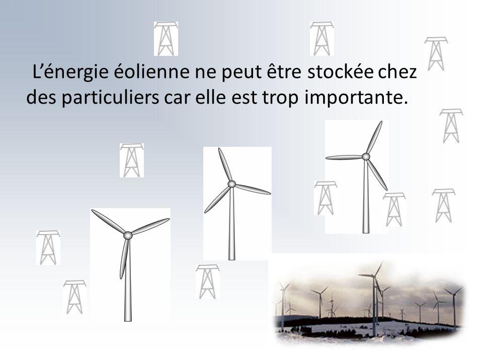L'énergie éolienne ne peut être stockée chez des particuliers car elle est trop importante.