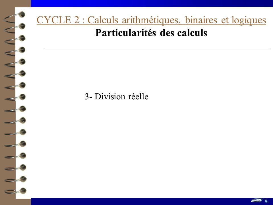 Particularités des calculs