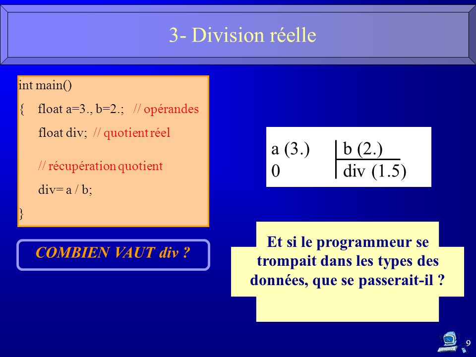 3- Division réelle a (3.) b (2.) 0 div (1.5)