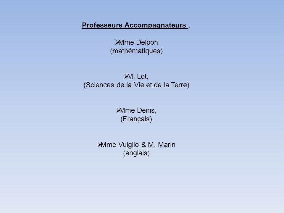 Professeurs Accompagnateurs : Mme Delpon (mathématiques)