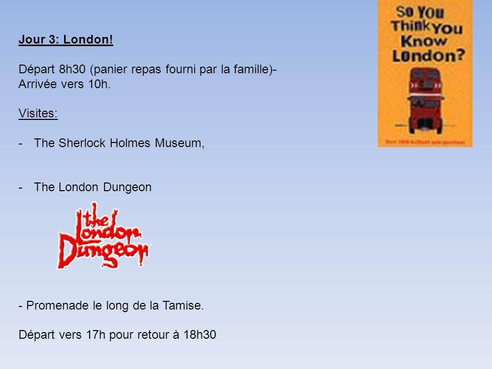 Jour 3: London! Départ 8h30 (panier repas fourni par la famille)- Arrivée vers 10h. Visites: The Sherlock Holmes Museum,
