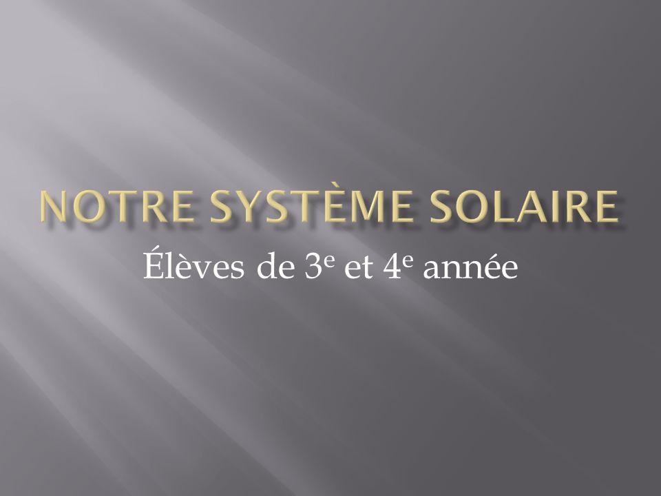 Notre système solaire Élèves de 3e et 4e année