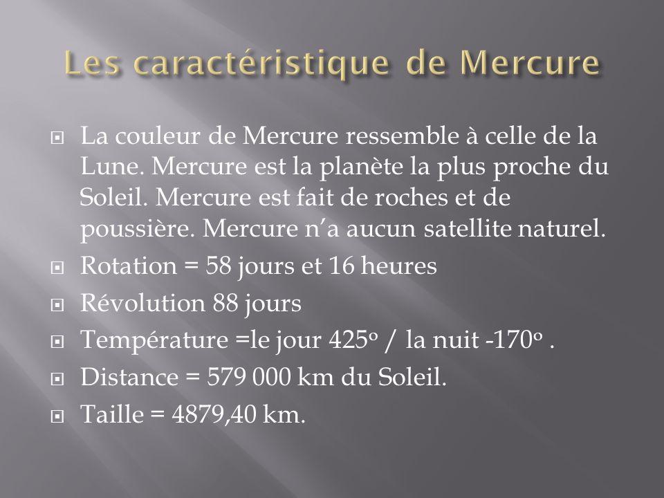 Les caractéristique de Mercure