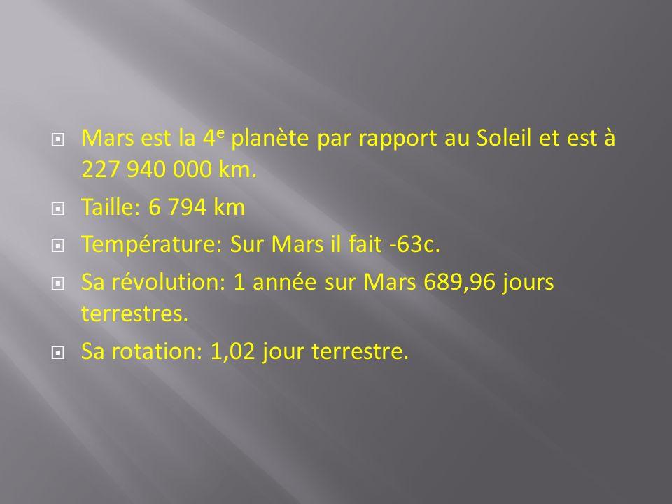 Mars est la 4e planète par rapport au Soleil et est à 227 940 000 km.