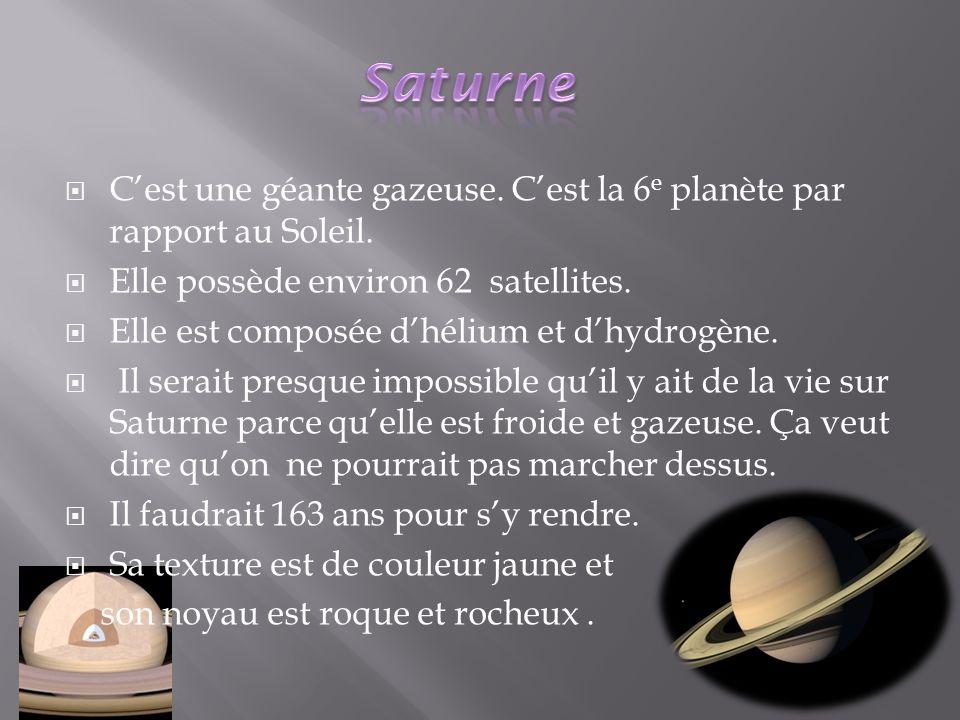 Saturne C'est une géante gazeuse. C'est la 6e planète par rapport au Soleil. Elle possède environ 62 satellites.