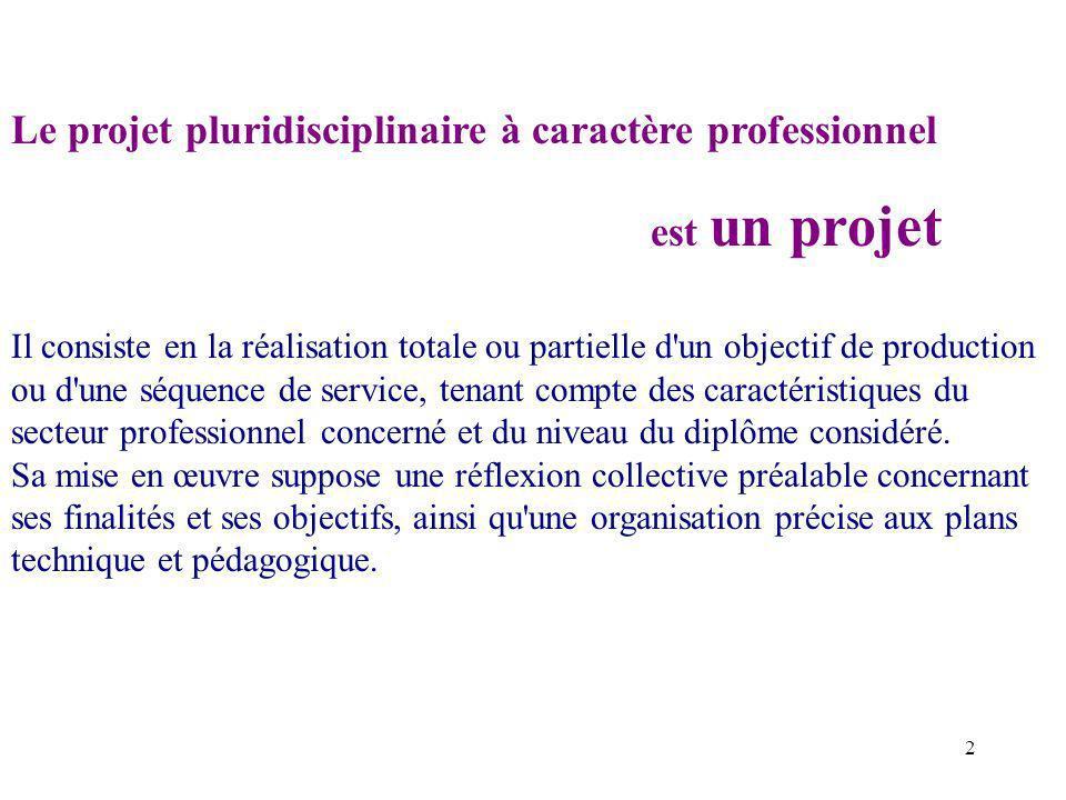 Le projet pluridisciplinaire à caractère professionnel est un projet