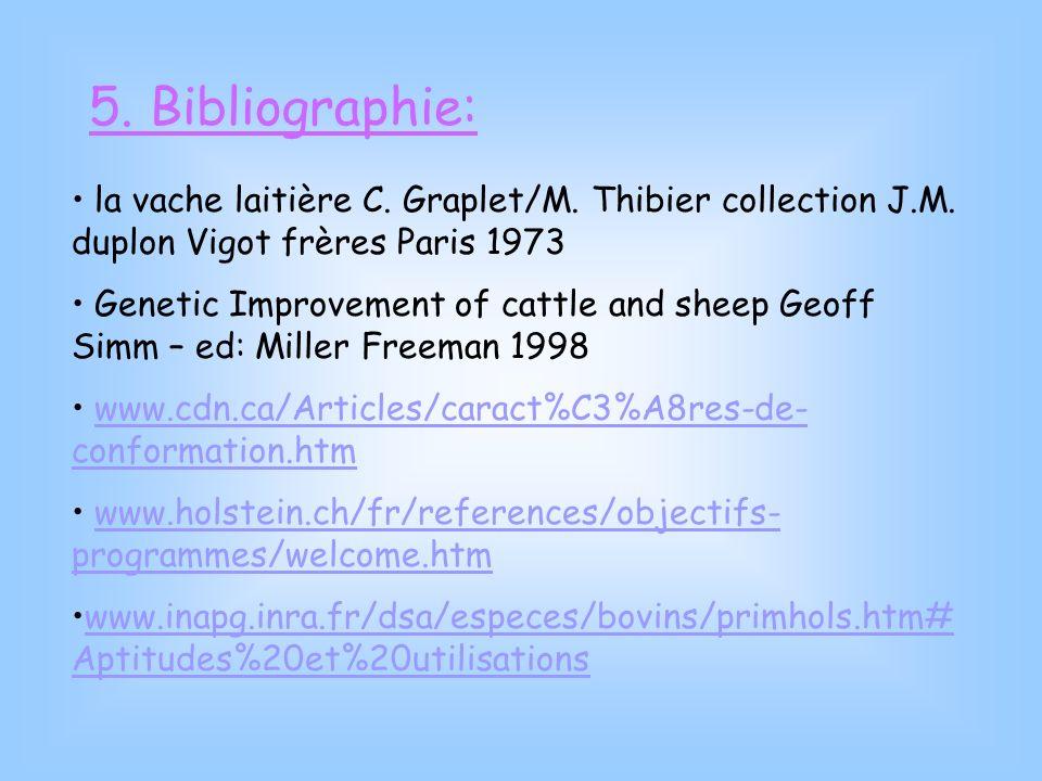 5. Bibliographie: la vache laitière C. Graplet/M. Thibier collection J.M. duplon Vigot frères Paris 1973.